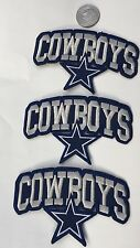 """3-Dallas Cowboys vintage embroidered iron on Patches 4""""x 2 1/2"""" Nice!!"""