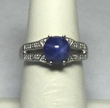 Sterling Silver Round 7mm Synthetic Blue Star Sapphire & Diamond Ladies Ring