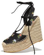 SAINT LAURENT Floral Print Espadrille Wedge Sandals Shoe 36.5- 6.5 Black leather