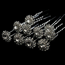 10 x Diamante Hair Clips Pins Rhinestone Slides Crystals for Wedding Party S2-10