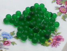 #668A Vintage Glass Balls 5mm Eyes Emerald Round No Hole Marbles Solid NOS Green