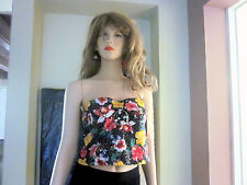 girls women strapless sleeveless sequins shirt top tank colorful- Black XL GLO