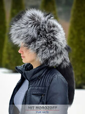 Premium SILVER FOX Fur Hat Russian Ushanka Trooper w/ Removable TAIL Silberfuchs