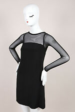 Vera Wang Black Woven Mesh Trim Long Sleeve Shift Dress SZ 2