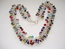 AB Multi-Color Gem Cluster Blue Topaz Red Coral Chain Strand Necklace Silver 17""