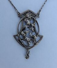 Lovely Authentic French Art Nouveau Silver Christmas Holly Pendant Necklace 1900