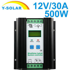 30A 12V 500W Wind Solar Hybrid Charge Controller LCD 300W Wind and 200W Solar