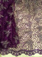 "PURPLE SILVER METALLIC EMBROIDERY SEQUINS BEIDAL LACE FABRIC 50"" WiIDE 1 YARD"