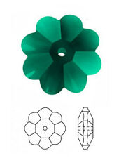1 SWAROVSKI DAISY MARGUERITE LOCHROSE FLOWER SPACER BEAD 3700, EMERALD, 12 MM