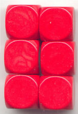 NEW Dice Set of 6 D6 (16mm) - Opaque Blanks  - Red