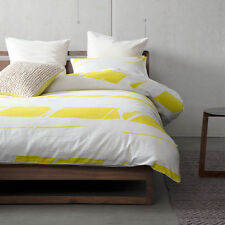 KAS ROOM BROKEN STRIPES Yellow King Size Bed Doona Duvet Quilt Cover Set NEW