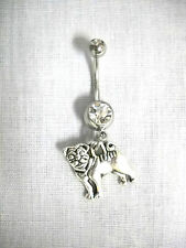 NEW CUTE 2 SIDED PUG PUPPY DOG ANIMAL CHARM ON 14g DBL CLEAR CZ NAVEL RING