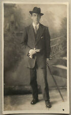 Vintage 20s B/W Photograph. Gent in City Smart Clothes. Hat, Umbrella, Gloves