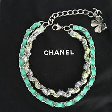AUTH CHANEL Green Silver Hardware Suede Tweed Double Chain Clover CC necklace