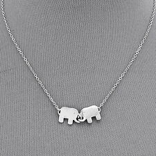 Rhodium Silver Simple Double Elephant Pendant Chain Pendant Necklace