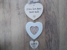 Personalised Shabby Love Wedding Engagement Hanging Plaque Mini Photo Frame Gift
