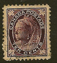 CANADA : 1898 10 cent  brownish -purple SG149 used