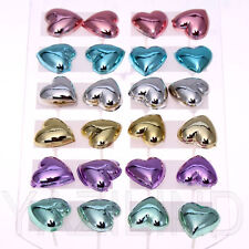 Wholesale 12pairs/ lot Colorful Resin Heart Crystal Ear Stud Earrings Lady Gift