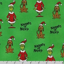 Dr Seuss How The Grinch Stole Christmas 6 Grinch Dog Naughty Nice Green Fabric