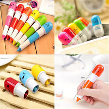 6in1 Cute Face Pill Ball Point Pen Telescopic Vitamin Capsule Ballpen Stationery