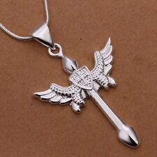 925 STERLING SILVER Necklace Pendant Cross Chain Goth Angel Wing Gift Bag