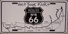 Aluminum License Plate Get Your Kicks on Route 66 NEW The Mother Road