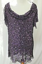 Adrianna Papell Evening Essentials Plus Size 1X Purple Silk Blouse Sequins Party