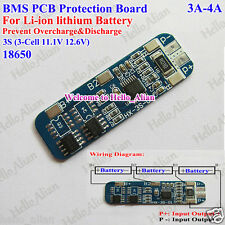 3S 3A-4A BMS Protection PCB Board For 3 Packs 18650 Li-ion Lithium Battery Cell