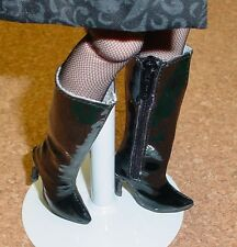 Doll Shoes, Custom 50mm BLACK PATENT zip knee boots for Ellowyne