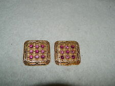 Gorgeous Ellen Designs Goldtone Square With Purple Rhinestones Clip On Earrings
