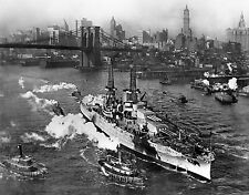 USS Arizona On The East River New York City 1916 Amazing 8.5x11 Photo B-1217