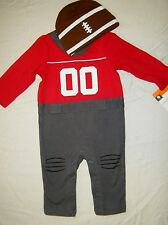 NEW BABY BOY CIRCO FOOTBALL ROMPER OUTFIT NFL NFC AFC  FOOTBALL HAT 0-3 Months