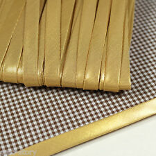 "Shiny Gold Metallic Polyester Bias Binding Tape 10yds 3/8"" Wide Folded S bi-007"