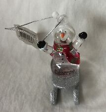 NWT Personalized Ganz Acrylic Sledding Snowman Christmas Ornament - Catherine