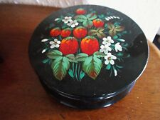 RARE VINTAGE HANDPAINTED BLACK RED TIN BOX KHOKHLOMA STRAWBERRY DESIGN 6""