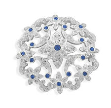 White & Royal Blue Flower Wedding Bouquet Shiny Diamante Brooch Hair Pin BR337
