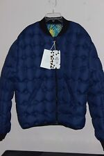 WOMEN'S H&M DOWN PUFFY WINTER REVERSIBLE SKI JACKET COAT US LARGE BLUE MULTI NWT