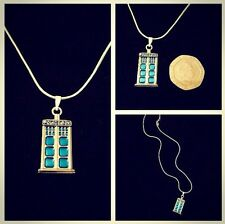 "Mini Tardis Necklace 16"" Chain Dr Who Pendant Police Box Phone Charm Sonic *UK*"
