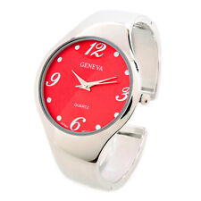 Silver Red Metal Band Large Case Geneva Women's Bangle Cuff Watch