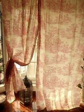 "PAIR(2) ~78"" French Toile curtain panels Ruffle RED Check Jamestown +2 Tiebacks"