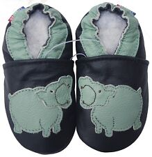 shoeszoo soft leather kid shoes hippo black 4-5t