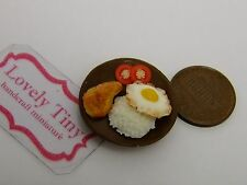 Miniature Yummy Food: Grilled Chicken Rice+fried egg, Charms Kawaii accessories