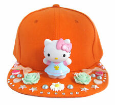 KITTY Cat Berretto Piatto Cappello Arancione decoden DECO kawaii cosplay Kera fai da te