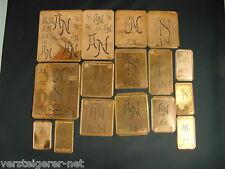 16 x AN Merkenthaler Monogramme, Kupfer Schablonen, Stencils, Patrons broder