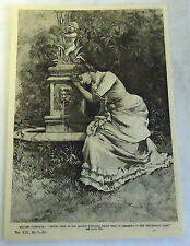 1885 magazine engraving ~ Madam Luneville - Helen Fell To Dreaming...