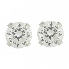 Bling bling cubic zirconia TINY stud earrings 925 sterling silver 4mm round new
