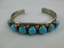 Vintage Navajo RUTH ANN BEGAY Turquoise Cuff Bracelet Sterling Silver 471B