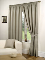 Waffle Pencil Pleat Ready Made Lined Curtains Taupe