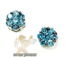 1.00ct Mens Ladies 14K White Gold Blue Diamond Cluster Round Earrings