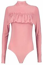 New Womens Polo Turtle Neck Soft Frill Leotard Bodysuit Top 8-14